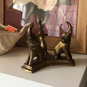 3 elephants brass figure